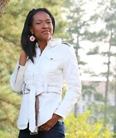 Womens Quilted Elbow Patch White Jacket Zip Up Collar with Belt S M L