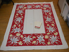 """Vintage 1950's Cotton Tablecloth 66"""" X 52"""" Red & White Print 4 Matching Napkins"""