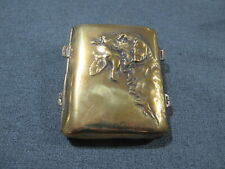 Antique hunting dog bringing a bird bronze case box with rings for hanging