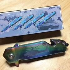 """Duck Titanium Coated Tactical 3 3/4"""" Knife w/Clip, Glass Break, Cutter DK636MATC"""