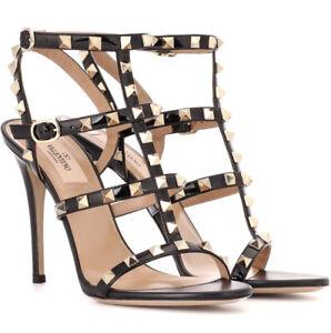 Valentino Rockstud Black Patent/Calfskin Leather 110 Sandals 38EU/7.5US $1045.00