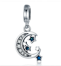 Moon stars European CZ Crystal Charm Silver Spacer Beads Fit Necklace Bracelet