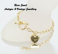 9CT GOLD CHAIN BRACELET T-BAR & HEART LOVELY CONDITION HALLMARKED