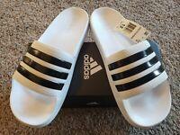 New W/Box-Adidas Adilette Aqua Slides-Sandals White/Black Men's Size 12 [F35543]