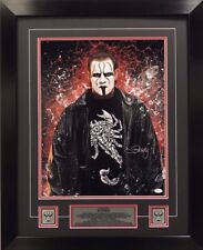 WWE Hall of Fame Superstar STING Signed 16x20 Framed 22x20 Authenticated w/ COA