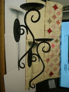 Pair of Black Iron Scroll Sconce Pillar Candle Holder Hearthside Partylight 2