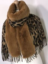 Faux Fur Pashmina Wrap Leopard Print Fluffy Fur Tan Soft Fringed Oversized NEW