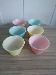 Vintage 6 Pyrex Pastel Coloured Ramekins Custard Cups