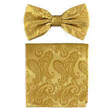 New formal Men's micro fiber Pre-tied Bow Tie & Hankie Gold paisley wedding prom
