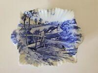 Antique Shelley China Jam Bowl, Vintage 1920s Blue & White China, Farmhouse