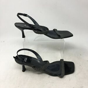 Stuart Weitzman Slingback Heels Braid Strap Square Toe Leather Black Womens 9.5B