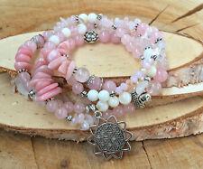 Blume des Lebens Kette Buddha Lotus Rosenquarz Muschelperlen rosa lange Kette