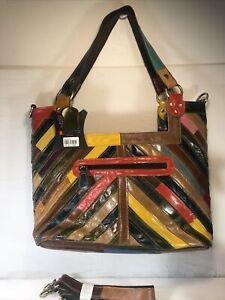 "Amerileather 'Hazelle' Rainbow Leather Tote/ Cross Body Strap Bag 12x14x5"" NEW!"