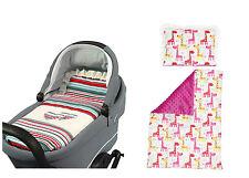 BASSINET Full Duvet Set Reversible PRAM Moses Basket - pink giraffe & pink minky