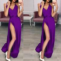 Backless Hot Side Slit Evening Dress Classical Deep V Neck Soft Maxi Party Dress