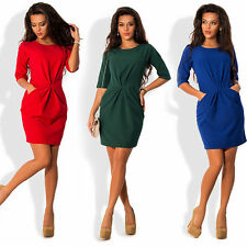 Women Sexy Bodycon Peplum Dress Long Sleeve Mini Party Cocktail Dresses Casual