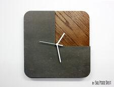 Three Quarters Concrete and Wood Wall Clock - Modern Wall Clock