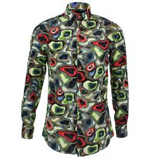Camisa Hombre Loud Originals tailored Fit Camuflaje Azul Retro Psicodélico De