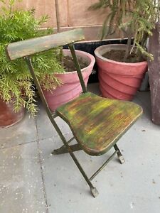 Vintage Wooden Iron Hand Crafted Green Painted Folding Baby Chair Child's Chair