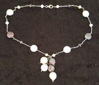Sterling silver & cultured pearl vintage Art Deco antique necklace B
