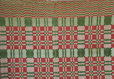 Antique Wool & Linen Coverlet Geometric Overshot Red Green Beige Fringe 73X86