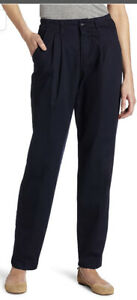 Lee Women's Relaxed Fit Side Elastic Pleated Pant, Navy, 18 Short- Ships Free!