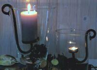 Kerzenhalter Gusseisen schwarz braun  Windlicht Teelicht Stumpenkerze Kerzenglas