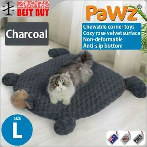 PaWz Pet Calming Bed Cat Dog Squeaky Toys Cushion Puppy Kennel Mat (L)(Charcoal)