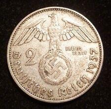 1937 A 2 Mark WWII Nazi German Reichsmark Silver coin w/ Swastika 3rd Reich