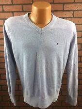 Tommy Hilfiger Mens Blue V-Neck Sweater Pull-Over Golf Medium B8-16