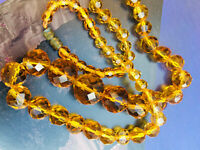 Vintage Art Deco Long Graduating Yellow Crystal Glass Faceted Bead Necklace