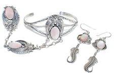 Ella Cowboy Sterling Silver MOP Cuff Slave Bracelet & Earring Set EUC
