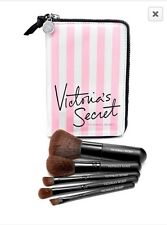 Victoria's Secret 5pc Travel Brush Set Kit PINK STRIPES Case Makeup Brushes NWT