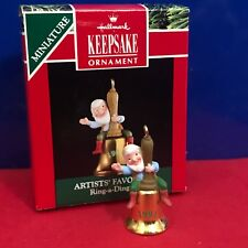 Hallmark Miniature Ornament Ring A Ding Elf 1991 New M10