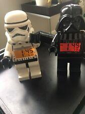 Two Lego Star Wars Darth Vader & Stormtrooper Digital Clocks With Alarm