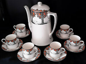 REDUCED! Antique Crown Ducal ORANGE TREE Coffee Pot/ 6 Demitasse Cups/Saucers