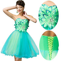 MINI Green Wedding Formal Evening Cocktail Ball Gown Party Prom Graduation Dress