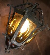 Vintage HAND BLOWN CAGED GLASS  & Wrought Iron LIGHT LANTERN LAMP