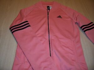 ADIDAS LONG SLEEVE FULL ZIP ORANGE JACKET WOMENS MEDIUM 12-14 EXCELLENT