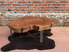 Live Edge Elm Slab Cookie Table with Antiqued Brassed Steel Legs