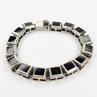 Vintage Sterling Silver 925 Weiss Link Bracelet Black Lucite Squares