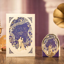 10xElegant Music Theme Wedding Invitation Card w/Envelop-Gold & Purple Laser Cut