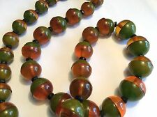 Rare Art Deco 2-coloured bakelite, split bead necklace, 1930s