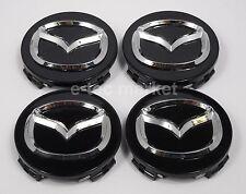 (4) Mazda 3 5 6 626 CX-7 CX-9 Miata Milennia Protoge RX-8 Black Center Caps Cap