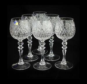 Neman 10-Oz / 300ml Set of 6 Glassworks, Hand-Made Cut Crystal Wine Glasses