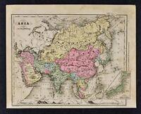 1882 Wells Map - Asia - China Japan Russia Siberia India Arabia Singapore Korea