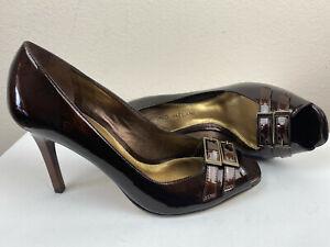Antonio Melani Preppy Pump Peep Toe 6 1/2 M Brown Pat. Leather Buckle NEW $119