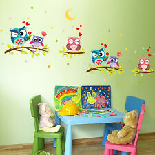 Home Decoration Vinyl Sticker Cartoon Cute Owls Pattern Removable Wall Stickers