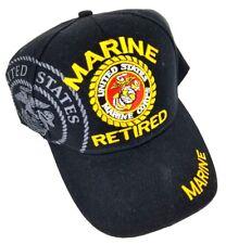 Retired USMC United States Marine Corp Adj. Strapback Baseball Hat Black