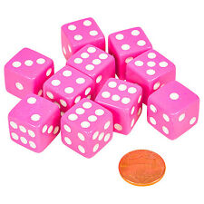 Set of 10 Six Sided D6 16mm Standard Dice Die - Pink with White Pips